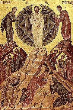 Bu ikonada betimlenen Göğe Yükseliş sahnesinde İsa'nın solunda Musa, sağında Elia (İlyas) peygamberler vardır. İsa ile İlyas arasında çok ilişki kurulur, hatta İsa, İlyas'tır, denir. İsa'nın dirilişi esnasında gözü kamaşanlar, Havariler Petrus, Yuhannes ve Yakup'tur. Fotoğraf:www.ortodoksluk.org