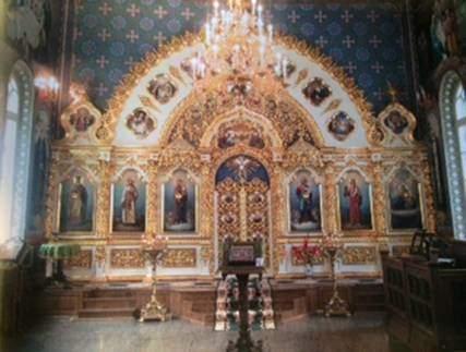 Hayat Veren İlkbahar Kilisesi'ndeki ikonastasis. Kiev, Ukrayna.