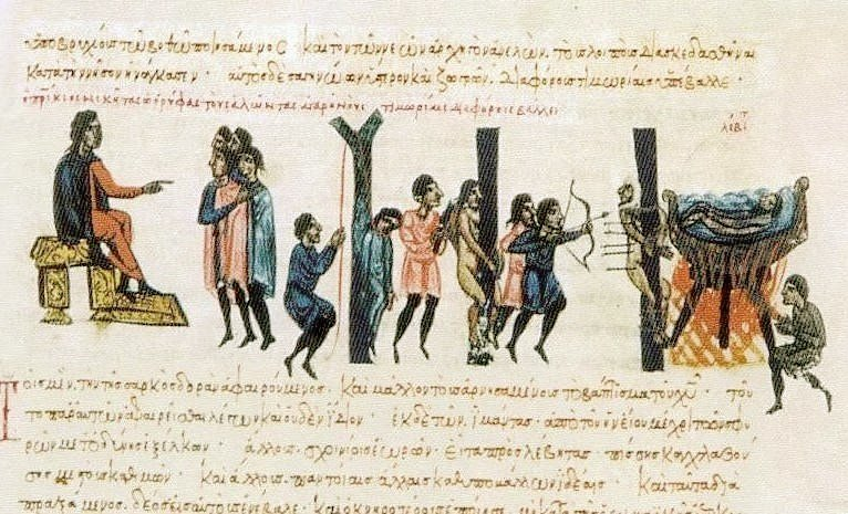 Serazen, genel olarak Hıristiyan olmayan anlamına gelir. Zaman içinde önce Arapları, sonra tüm Müslümanları betimlemiştir. Giritli Serazenleri cezalandıran Bizanslılar. Fotoğraf:wikipedia.org
