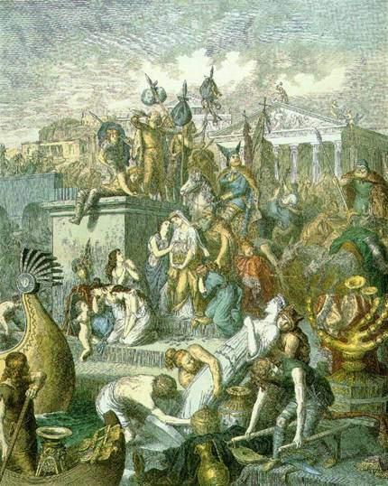 Ostrogotlar, Vizigotlar, Alamanlar, Burgondlar, Franklar, Vandallar Büyük Germen kavimleridir. 376 yılında Hunlar'a karşı koyamadılar ve bu, Avrupa'da büyük kavimler göçünü başlattı. Germen kavimleri, Roma İmparatorluğu'yla ilişki kurunca, Hıristiyanlığı benimsediler. 4. yüzyılda Kutsal Kitap, dillerine tercüme edildi. Bazı kaynaklar tarafından Doğu Germen kavimlerinden olduğu kabul edilen Vandallar'ın yurtları kesin olarak bilinmemektedir. Kökenleri konusunda da bazı şüpheler vardır. Batı Roma'nın yıkımına sebep olmuşlar, ancak 6. yüzyılda Bizans'a yenilmişlerdir. Roma'nın Vandallar tarafından yağmalanması vandalizm teriminin türemesine neden olmuştur. 533'te Bizans komutanlarından Belisarios, Vandalların son kralı olan Gelimer'i yenerek egemenliklerine son vermiştir. Roma'yı Yağmalayan Vandallar, 1860-1880,  Heinrich Leutemann (1824-1904). Fotoğraf:wikipedia.org