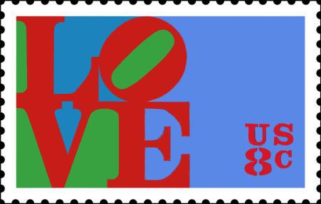 Robert Indiana, Love, Pul. Indiana'nın en ünlü eseri L0VE ilk olarak 1958'de Indiana'nın şiirlerinde ortaya çıktı. Daha sonra Sevgi Tanrı'dır (Love is God) yazan tablosunda, 1964 yılında ise kırmızı-yeşil-mavi renklerle MOMA için Noel kartı olarak kullandı. İlk kez 1973 yılında 8 cent'lik pulun üzerine basıldı ve LOVE pulları serisi devam etti. Pek çok teknikle tekrarladığı Love'ın serigrafik ilk üretimini 1966 yılında yaptı. Anıtsal Love heykelleri bir çok noktada yerini aldı, logo olarak kullanıldı.