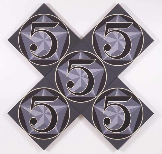 Robert Indiana, The X-5, 1963. Bu yağlı boya eser 5 ayrı tuvalden oluşmaktadır. Fotoğraf:whitney.org