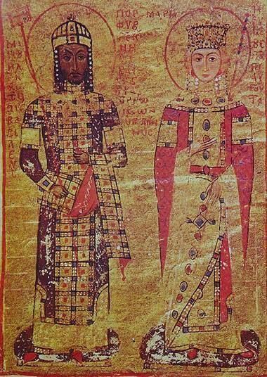12. yüzyılda I. Manuel Komnenos'un üzerinde görülen loros ile zaman içinde lorosun değişimini görüyoruz. Fotoğraf:www.en.wikipedia.org
