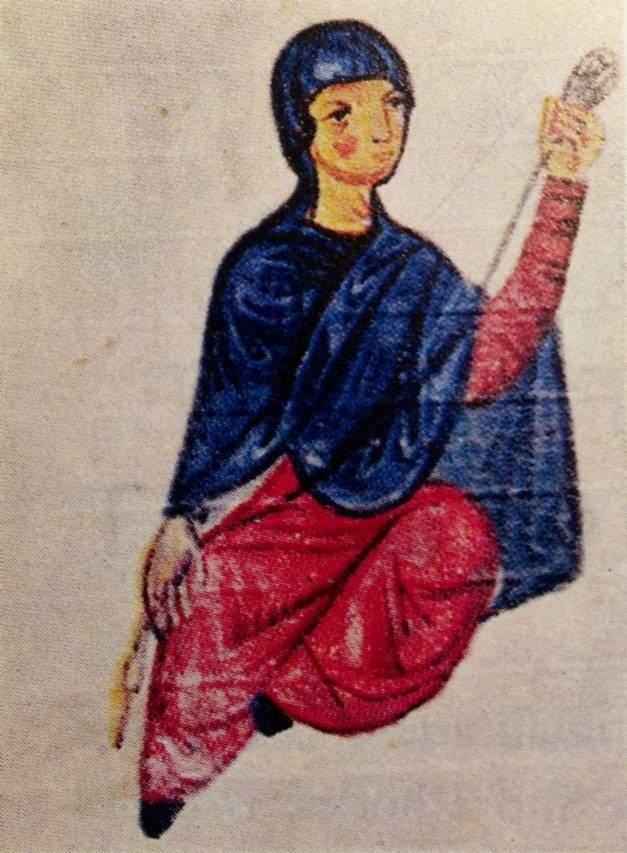 13. yüzyıl minyatüründe yün eğiren Bizanslı kadın. Fotoğraf: Byzantium, Philip Sherrard, Time-Life Books, 1976.