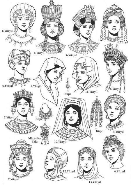 Bizans'ta yüzyıllara göre kadın örtünmesi/başlığı modelleri. Fotoğraf:www.odatv.com