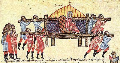 Madrid Ulusal Kitaplık'ta bulunan Skilitzes yazmasından bir minyatür; Bizanslı soylu kadın Danielis tahtırevan ile giderken, 9. yüzyıl. Fotoğraf:tr.wikipedia.org.