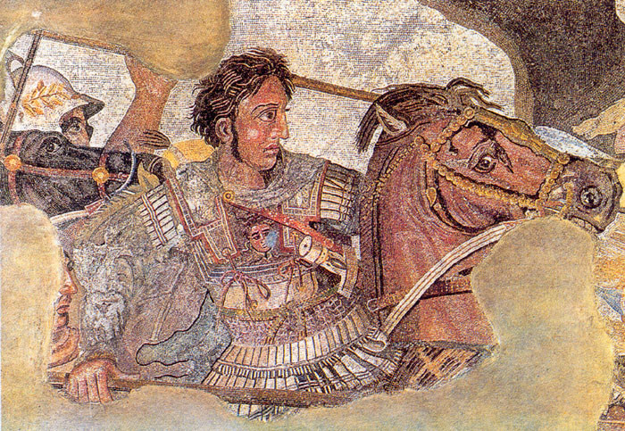 İssus Muharebesi'ni betimleyen tablonun ayrıntısında Büyük İskender'in arkasında görünen Ptolemaios Soter'dir. Fotoğraf:tr.wikipedia.org