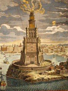 İskenderiye Feneri'nin bir canlandırması. Fotoğraf: www.sembolog.com