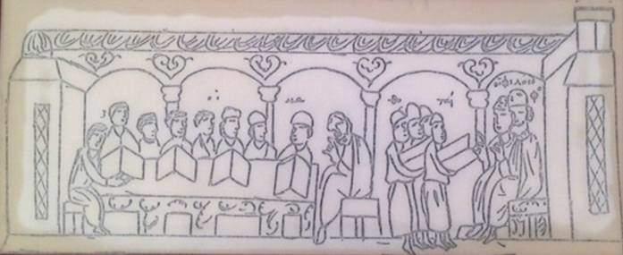 13. yüzyıla tarihlenen Skylitzes El Yazması'nda masa başında oturan öğrenciler, önlerinde kitapları ders görmekte. Ellerinde kitaplarıyla ayakta duran öğrenciler ise kürsüde oturan hoca ile müzakere etmekte. İstanbul Arkeoloji Müzeleri.