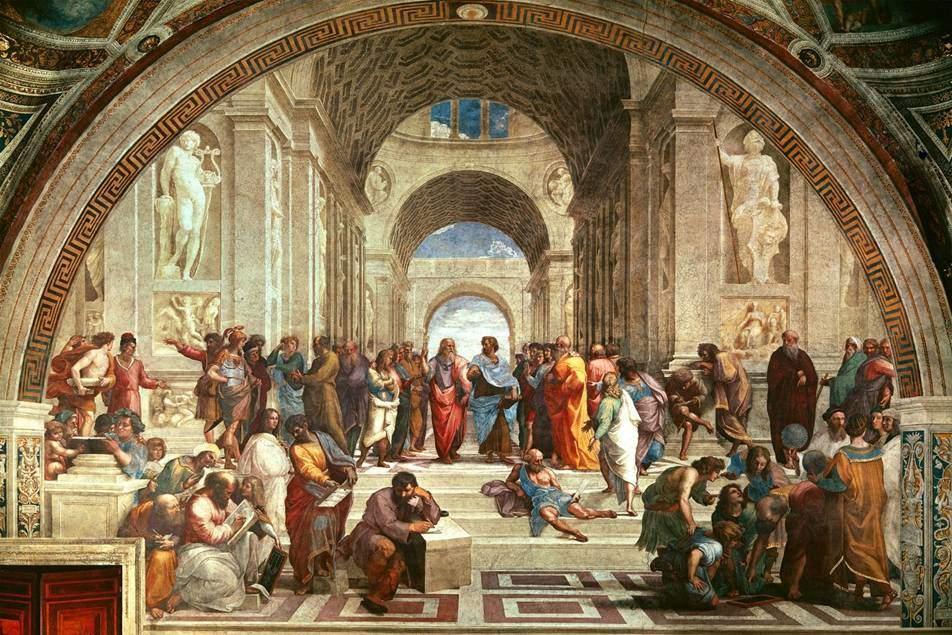 Atina Okulu, Raphael, 1509-12. Roma, Vatikan, Stanza della Segnatura. Fotoğraf:tr.vikipedia.org