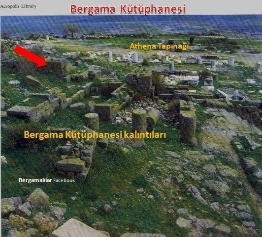 Pergamon Kütüphanesi kalıntıları Akropol'de, Athena Tapınağı'nın kuzeyinde ve tapınağa bitişik halde bulundu. Fotoğraf: tr-tr.facebook.com/.../bergamalilar/...bergama-kütüphanesi