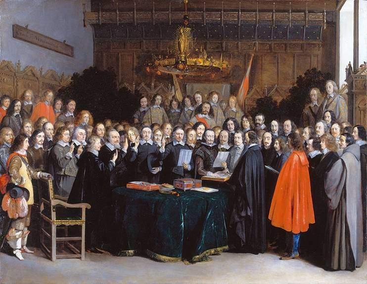Münster Antlaşması 'nın imzalanması, Gerard ter Borch'un (1617-1681) eseri. 1648 yılında imzalanan Westphalia Barışı birkaç antlaşmayı kapsar, Münster bunlardan biridir. Bu barış, tarihçiler tarafından modern çağın başlangıcı ve egemen ulus devlet sistemine geçiş olarak gösterilmektedir. Barış bugün bile önemini yitirmemiştir, bazı akademisyenler bugün var olan uluslararası sistemin Westphalia ile başladığını belirtmektedirler. Fotoğraf:www.geheugenvannederland.nl