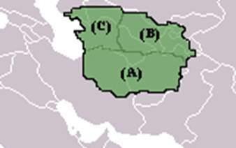 (A) Horasan, (B) Maveraünnehir, (C) Harezm Fotoğraf: Phoenix2, de.wikipedia.org