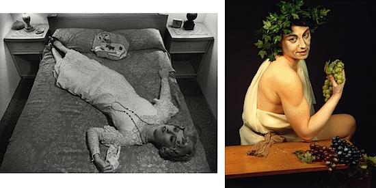 Postmodernist kimlik performansının örneklerinden biri de ABD'li sanat fotoğrafçısı ve film yönetmeni Cindy Sherman'dır (1954-). Kendisinin canlandırdığı yüzlerce kadın, hatta bazen de erkek canlandırması vardır, bunların hiçbirisi Cindy Sherman'ın gerçek anlamda bir otoportresi değildir. Kendi deyişine göre Sherman fotoğrafları kadın stereotipleri ile ilgilenir, ancak bu stereotipler onun kadınları nasıl gördüğünü değil, erkeklerin kadınları nasıl gördüğünü yansıtır. Sherman için 70'lerin ve 80'lerin kültürel ortamıyla biçimlenen bir uygulayıcı denir. Solda İsimsiz Film No. 11, 1978; sağda İsimsiz No. 224, 1990. Fotoğraf:www.oliviapalermo.com
