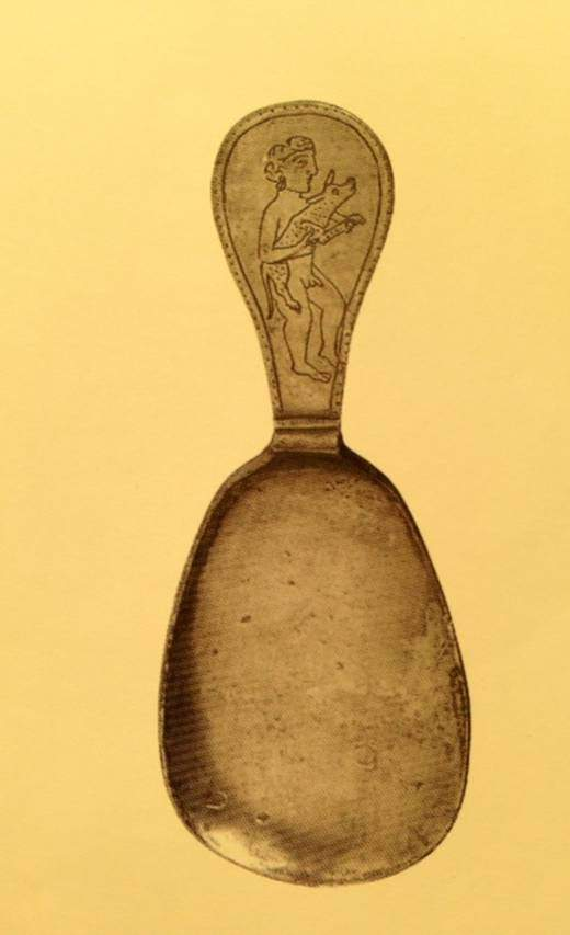 Altıncı yüzyıldan kalma gümüş bir Bizans kaşığı. Musées d'art et d'histoire de la Ville de Genéve. Fotoğraf: Byzantium, Robin Cormack ve Maria Vasilaki, Royal Academy of Arts, 2008.