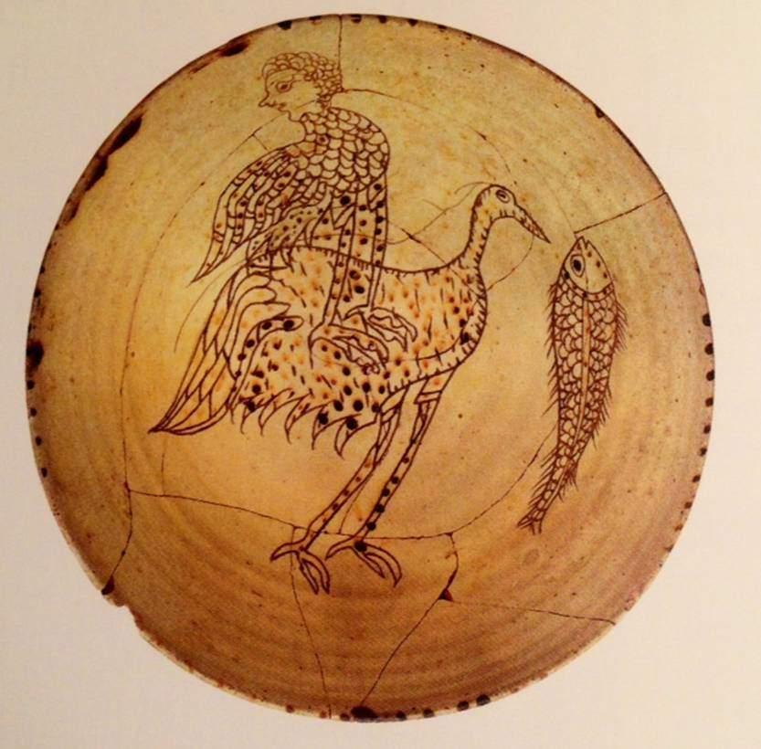 1180-1200 yılları arasında yapılmış hayvan desenli ve sırlı seramik tabak. Archaeological Museum of Ancient Corinth, Teselya, Yunanistan. Fotoğraf: Byzantium, Robin Cormack ve Maria Vasilaki, Royal Academy of Arts, 2008.