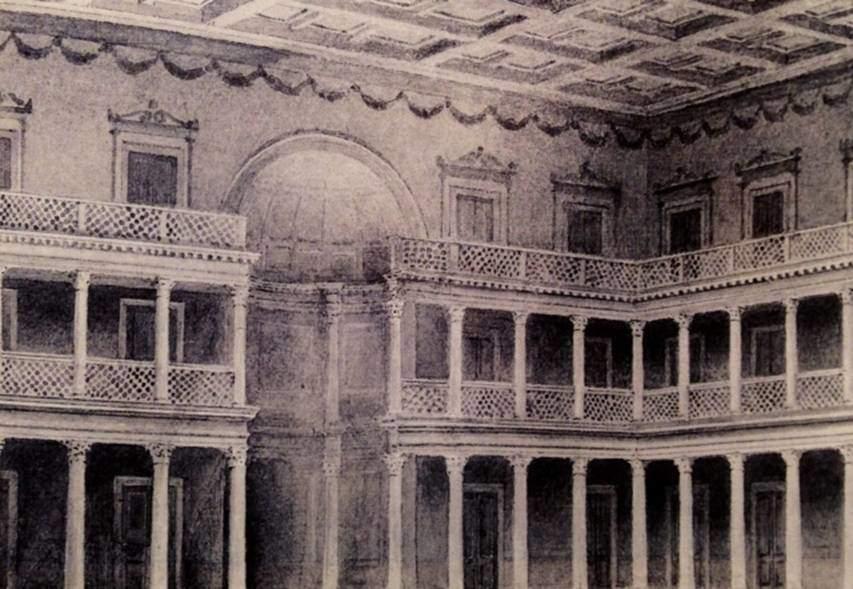 Niemann tarafından yapılmış Celsus Kütüphanesi'nin üç katlı iç rekonstrüksiyonu. Fotoğraf:Efes Rehberi, 2000.