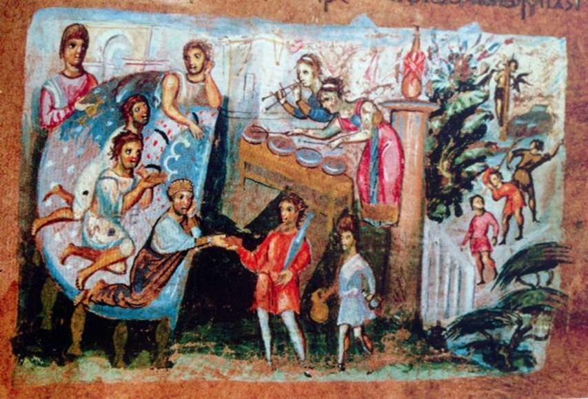 Konstantinopolis sakinleri 4. yüzyıldan 7. yüzyıla kadar akşam yemeklerini bir tören havasında yemeğe düşkündüler. Küçük yarım daire bir masa (sigma) ve yine yarım daire biçiminde bir kanape kullanılırdı. Uzanarak yemek yemek bir statü işaretiydi. Ziyafet masanın çevresinde oturmak küçültücüydü, toplumun alt tabakalarına mahsustu. Görgü kurallarına göre ayakkabılar çıkarılmalı, terlik giyilmeliydi. Firavunun Ziyafeti minyatürü, Yaratılış Kitabı, Eski Ahit, 6. yüzyıl, Österreichisches Nationalbibliothek, Viyana, Avusturya.