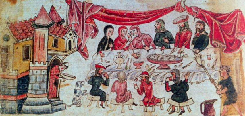 Yemek masasının etrafında uzanma adeti 8. yüzyıldan sonra giderek ortadan kalktı. Ortadan yemek yeme alışkanlığı Orta Bizans Döneminde de (9.-13.yüzyıl)  sürdü. 13.-14.yüzyıllarda sofra alışkanlıklarında yenilikler ortaya çıktı. Artık yüksek, genellikle beyaz örtüler örtülmüş masaların etrafında, katlanabilen tabure ya da sıralara oturarak yemek yenmeye başlanmıştı. Masanın ortasındaki ortak kap artık yoktur, kişisel kullanım için yapılmış küçük kaplar kullanılmaktadır. Dini ikonografide ziyafet sahneleri bu yenilikleri yansıtır. Eyüp Peygamber'in en büyük oğlunun evinde şölen, Eyüp Kitabı, Eski Ahit, Manuel Tzikandiles'in yorumu. Bibliothéque nationale de France, Paris, Fransa.