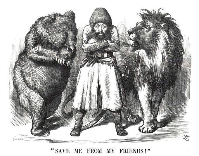 30 Kasım 1878 tarihinde Punch dergisinde yayımlanan, Şir Ali Han'ı, Rus ayısı ve İngiliz arslanı arasında gösteren, Sir John Tenniel'in (1820-1914) karikatürü. Şir Ali Han, 1863-79 arasında hüküm süren Afganistan Emiri. Rusya ile Britanya'nın Afganistan'ı ele geçirmek için mücadele ettikleri bir dönemde ülkesinin tarafsızlığını korumaya çalışmışsa da sınırlı bir başarı sağlayabilmiştir. Fotoğraf:Tombseye at en.wikipedia.