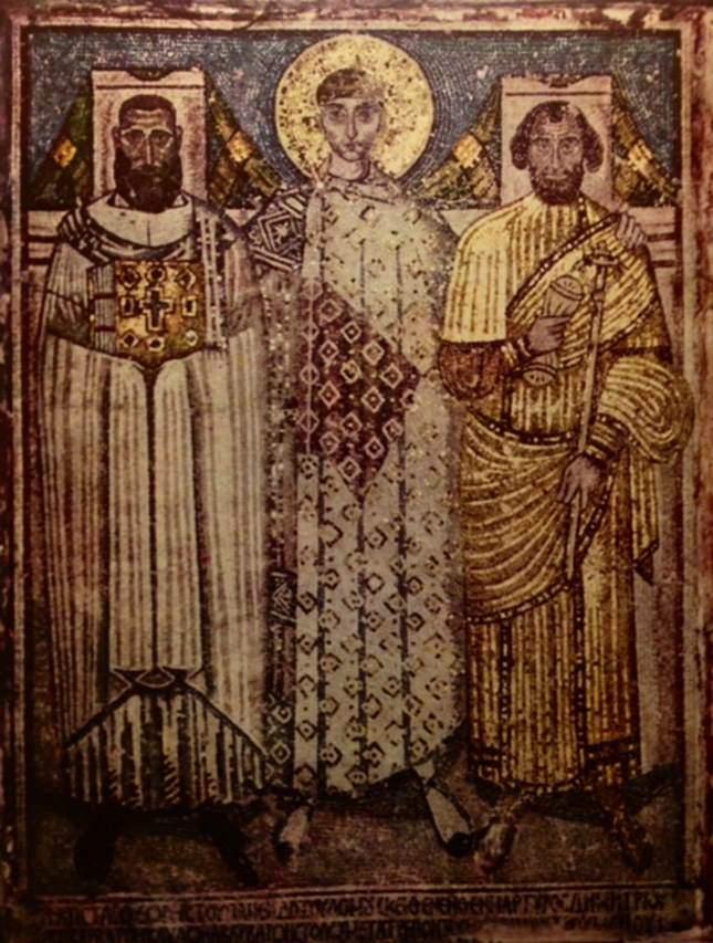 6.-7. yüzyıllara tarihlenen, Selanik'teki Aziz Demetrius Kilisesi'ndeki mozaik tablo.