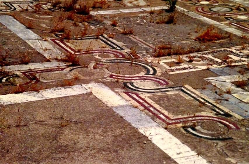 Studios Manastırı'nın taban mozaiği. Antrolak desenli bu mozaik, 1261 yılında Konstantinopolis'in Haçlıların elinden alınmasından sonra Mihael VIII. Paleologos tarafından yaptırtılmıştı. Fotoğraf: İstanbul İmparatorluklar Başkenti, Stefanos Yerasimos, Tarih Vakfı Yurt Yayınları, 2000.