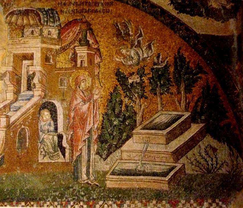 Bizans bahçesini tahayyül ediyoruz. Giysiler gibi, bahçeyi de fresklerden, mozaiklerden biliyoruz. Khora'daki Meryem'in annesi Anna'ya Müjde sahnesinde Bizans bahçesini görüyoruz.