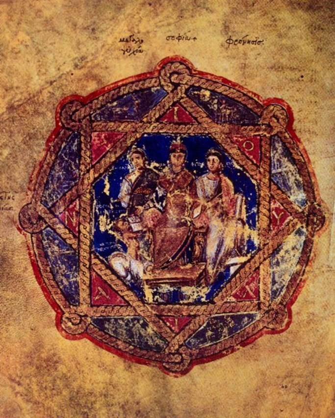 Soyluların yüzleri genellikle gözlemciye dönük olarak cepheden resmedilirdi. 6. yüzyıl başlarında Prenses Anikia Juliana için yapılmış ünlü Dioskorides Yazması'nda prensesin bir yanında Yücelik, öbür yanında Sağduyu kişileştirilmiştir. Tahtta oturan prenses sağ eliyle kitabın bir kopyası üzerine altın paralar atmaktadır. Üst giysisi altın çizgili, ayak taburesi de altın süslemelidir. Minyatürü bir bütün olarak içine alan ise büyük aznavur desenidir. Karenin üçgen köşeliklerinde kırmızı üzerine altın yaldızla prensesin adının harfleri yazılıdır. Lacivert fonun boyanmasında lapis lazuli kullanılmıştır. Kullanılan renklerin parıltısı, prensesin pozu, para bağışlayışı ile tablo cömertliği temsil etmektedir. Yazmada yer alan bu tablo, hem soylu kadın giysisi, hem Bizans şaşaası, hem Bizans değerleri, hem de Bizans resim sanatı  hakkında bize bilgi vermektedir. Hayırsever Anikia Juliana'nın portresi, Österreichisches Nationalbibliothek, Viyana, Avusturya.