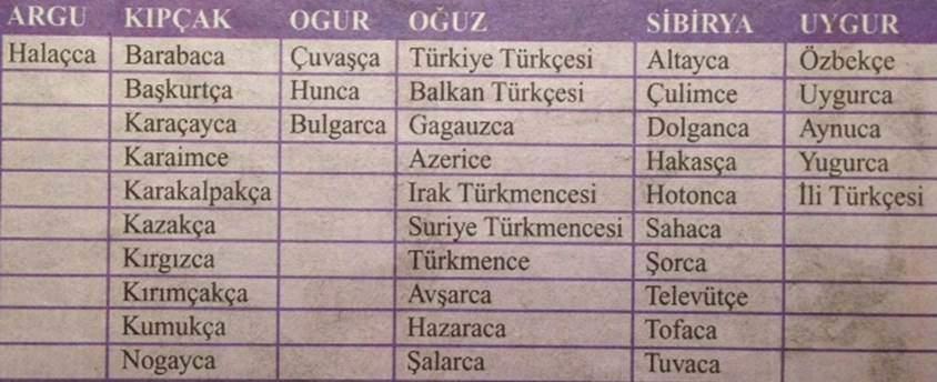 Türk dilbilimcileri, dili üç alt gruba ayırırlar; ağız, lehçe ve uzak lehçe. Lehçede, gramer özellikleri değişir. Şive ise sadece sözlüdür; yazıldığında gramer özellikleri değişmez. Türkçe bugün dilbilimciler tarafından 6 lehçe ve uzak lehçeden oluşan bir dil olarak kabul görmektedir: Argu, Kıpçak, Oğuz, Ogur (Bolgar), Sibirya ve Uygur. Bunlardan Sibirya ve Ogur grupları uzak lehçe, diğerleri lehçedir. En yaygın lehçe %65 ile Oğuz lehçesidir. Afganistan'da konuşulan Hazaraca'nın ayrı bir dil olduğunu savunanlar da vardır. Moğol İmparatorluğu'nun (1206-1405) da resmi dili olan Çağatayca, bugün Uygur grubu olarak adlandırılmaktadır. Özbekçe ve Doğu Türkistan'da konuşulan Uygurca bu lehçenin en önemli iki ağzıdır. Değişik iklimlerde yaşamış olmak, alfabe farklılıkları, farklı topluluklarla etkileşim, değişik dinlere tabi olma gibi sebepler göz önüne alındığında, Türkçe'de büyük lehçe farklılıklarının bulunması kaçınılmazdır. Kaynak: Türk Lehçeleri, Mehmet Şahin, Cumhuriyet Strateji, 31.12.2007.