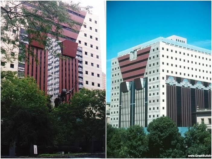Postmodern mimarinin geçiş örnekleri arasında sayılan ABD'li mimar Michael Graves'in (1934-2015) eseri Oregon'daki Portland Building. Postmodern binalar bazen gözü yanıltır, Rönesans'ta yapıldığı gibi, aslında var olmayan bir derinlik etkisi yaratırlar. Portland Kamu Hizmetleri Binası, kenarlarda duran ve sütunmuş gibi görünen sahte sütunlara sahiptir. Michael Graves Postmodernizm'in belki de en tanınmış ismidir.