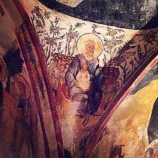 Lazarus İbrahim'in kucağında, Kariye Müzesi, güney şapeli, erken 14. yüzyıl. Fotoğraf:ink361.com