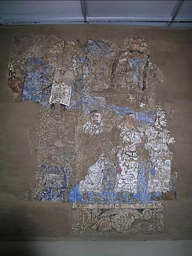 Yörenin büyük yöneticisine elçiler hediye taşıyor. 7. yüzyıl, Sogd dönemi. Afrasiyab Tarih Müzesi, Semerkand. Fotoğraf: Füsun Kavrakoğlu