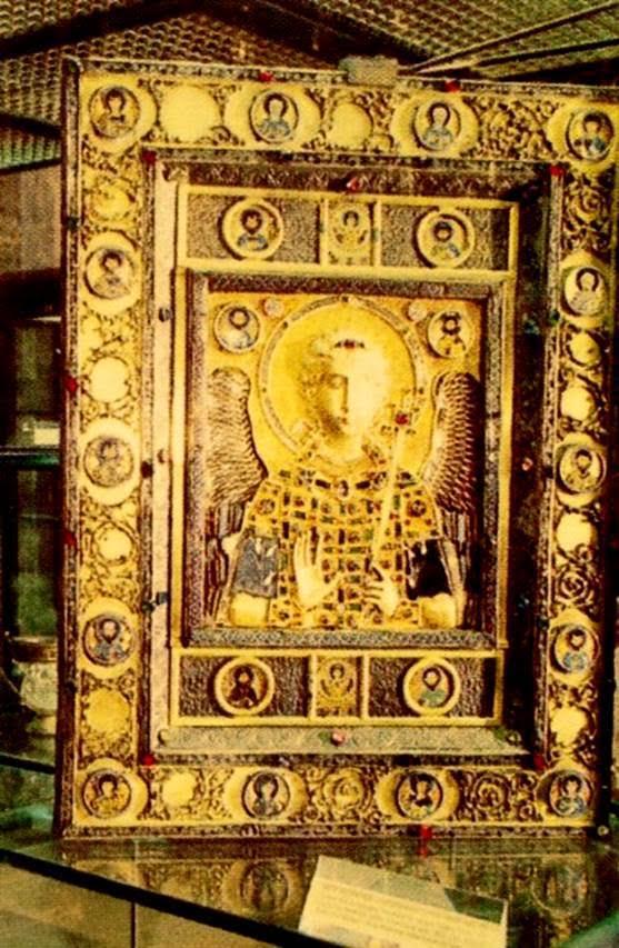 Konstantinopolis ganimetlerinden altın, gümüş ve mine işli bir başka baş melek Mihail ikonası. 11. yüzyılın ilk yarısı.