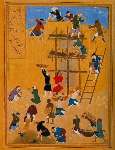 Minyatür sanatçısı Behzat (1450-1535), Hüseyin Baykara'nın sarayındaki sanatçılardan biridir. Teknik ustalığı, kompozisyonda yarattığı yeniliklerle, dramatik anlatımıyla ve zengin renk bilgisiyle zamanının en büyük ustasıdır. Minyatür sanatını katılıktan ve aşırı ayrıntılardan kurtarmıştır. 1494'te yaptığı Havarnak Kalesi'nin Yapılışı minyatürü, Behzat'ın karmaşık bir sahneyi zengin ve akıcı bir kompozisyona dönüştürmedeki yeteneğinin bir kanıtıdır. Bu yapıt onun, özenli gözlemcilikle gereksiz ayrıntılardan kaçınıp anlamlı olanları betimleme becerisini ortaya koyar. Orhan Pamuk, Benim Adım Kırmızı adlı eserinde Behzat'tan ayrıntılı biçimde bahseder. Fotoğraf:tr.vikipedia.org