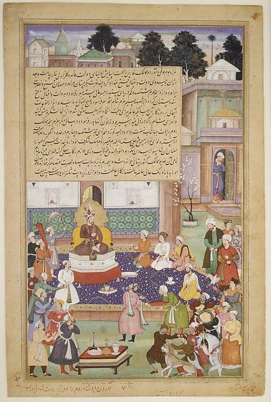 The Metropolitan Museum of Art'da bulunan, Timur'un Huzurunda Sultan Beyazıt minyatürü. Fotoğraf:www.pinterest.com