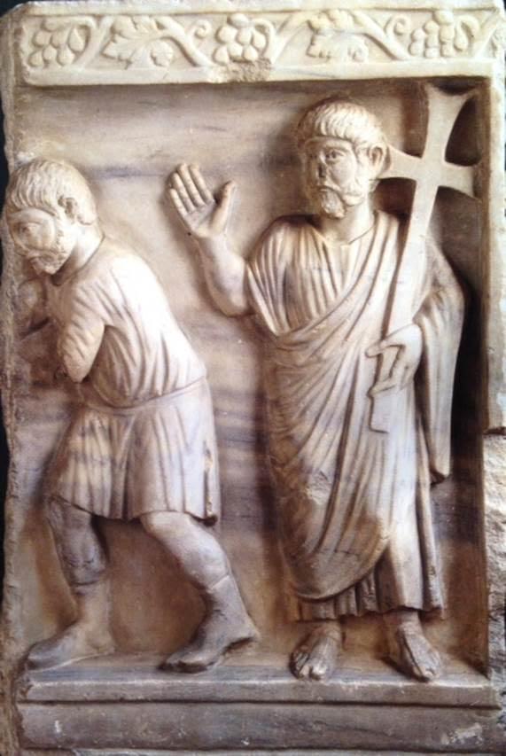 Beşinci yüzyılın üçüncü çeyreğine tarihlenen sarkofaj parçası. Saatliche Müzesi, Berlin, Almanya. Fotoğraf: Byzantium, Robin Cormack ve Maria Vasilaki, Royal Academy of Arts, 2008.