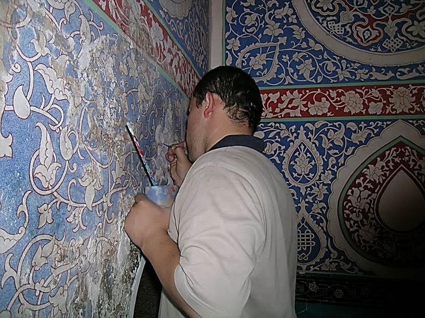Şah-ı Zinde 'deki restorasyon çalışmalarından. Fotoğraf: Füsun Kavrakoğlu