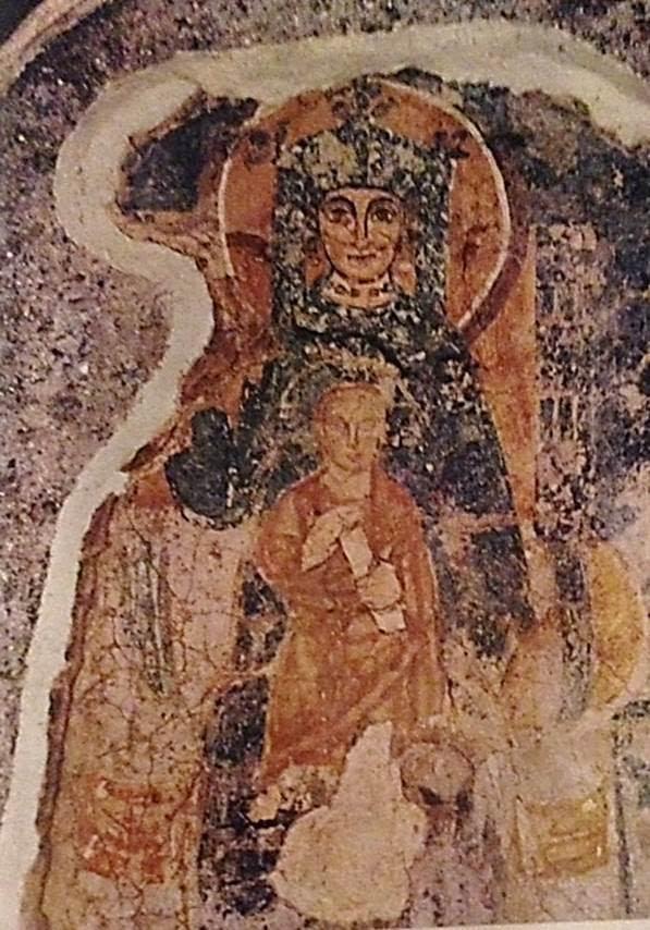Madonna ve Kutsal Çocuk ikonası, Bizans, 8. yüzyıl. Basilica di San Clemente, Roma, İtalya. Fotoğraf:Kina Italia/Lego Italy, M. Gerardi, 1992.