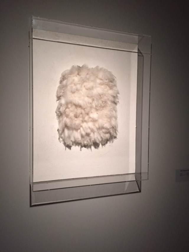 Achrome , Piero Manzoni, 1959-62. Ahşap üzerine pamuk. Manzoni, hem malzeme hem kavram açısından sanat objesinin doğasına meydan okudu. Geleneksel sanat eserinin sınırlarını aşan, ölçülemeyen ve sonsuz olanın peşinden gitti. Pek çok eserinde kullandığı beyaz renk, Manzoni için hem bir keşif, hem de Yves Klein'ın tek renk felsefesine bir karşı çıkışı temsil ediyordu. Bu karşı çıkışı , hiçliğin ifadesi olan dolayısıyla renk olma niteliği taşımayan beyaz ile yapıyordu. Manzoni'nin benimsediği şekliyle beyaz, izleyiciye sonsuz anlamlar sunma imkanı taşıyordu. Fırça ya da boyanın hüküm sürmediği yepyeni bir resmi de gündeme getiriyordu. Fotoğraf: Füsun Kavrakoğlu