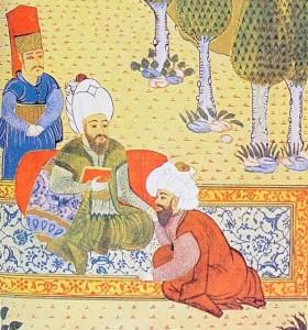 Uluğ Bey'in Gökbilim Cetvellerinin (Zic-i Ulugi) tamamlanmasına yardım eden Alaeddin Ali ibn Muhammed Kuşi veya Ali Kuşçu (1403-1474), Uluğ Bey öldürüldükten sonra bu değerli derlemeyi kurtarıp, Tebriz'e, Akkoyunlu sultanı Uzun Hasan'ın yanına sığınmış; bu sultan da onu Fatih Sultan Mehmet'in yanına İstanbul'a göndermişti. Ali Kuşçu, birkaç yıl sonra İstanbul'da ölmüştü. Ali Kuşçu'yu Fatih Sultan Mehmet'e Cetvelleri teslim ederken tasvir eden Osmanlı minyatürü. Fotoğraf:muhend1sbey.wordpress.com