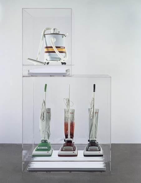 New Hoover Convertibles, Green, Red, Brown, New Shelton Wet/Dry 10 Gallon Displaced Doubledecker, Jeff Koons, 1981-7. Şeffaf plastiğin içinde, floresanlarla aydınlatılan elektrik süpürgeleri. Eser, Postmodern çağda makinenin kutsanması olarak yorumlanabilir. Pazarlama ve tüketimin eleştirisi olarak görülebilir. Eser, materyalist değerler, insanların aklını çelen reklamlar, ikna yöntemleri, arzu ve mülkiyetin manipülasyonu hakkında ironik bir gönderme olarak da algılanabilir. Koons, elektrik süpürgelerinin sonsuzluğu çağrıştırdığını söylemişti. Elektrik süpürgelerinin antropomorfik (insana ait özellikler taşıyan) bir nesne olduğunu, çünkü nefes alıp verdiklerini; cinsel girinti çıkıntıları ile çift cinsiyetli figürler olduklarını belirtmişti. Koons, nesneleri düzenlemiş ama biçimlendirmemiştir. Koons, Duchamp ve Warhol'dan esinlenerek, tüketici ürünlerini sanki satılıyormuş gibi galeride sergiler. Bir galeride sergilendiği için ürünler bizi bir dükkanda gördüklerimizden farklı bir biçimde düşünmeye sevk eder. Koons'un yapıtı geleneklerin dışında olduğu için üst anlatıya bir meydan okuyuştur; hem güzel sanatların hem de meta kültürünün bir örneğidir; geleneksel anlamda sanatsal ustalık sergilemez; estetik değer hakkında açık bir anlam iletmez ve bir sosyal anlam taşır gibi görünmez. Ama bizi her şeye farklı gözle bakmaya teşvik eder. Fotoğraf:www.tate.org.uk
