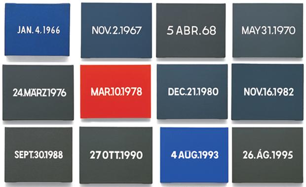 Today Series, On Kawara (1933-2014), 1966 – 2014. Sanatçı günün tarihini rakamlarla betimleyen bir tuval yaparak zamanı görselleştirmiş, geleneksel bir aracı zamanın nesnelleştirmek için kullanmıştır. Fotoğraf:www.phaidon.com