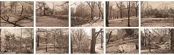 Duration Pieces No. 5, Douglas Huebler (1924-1997), 1969. ABD'li sanatçı hazırladığı bu seride zamanı etkin bir öge olarak kullanmıştır. Serinin yukarıda resmi bulunan parçası, New York, Central Park'ta çekilmiş. Huebler, parkta yürürken on dakikada on siyah-beyaz kare çekmiş. Deklanşöre basışını, bir kuş öttüğü veya bir ses duyduğu anda yapmış ve sesin geldiği yöne objektifi çevirmiş. Sanatçı bir başka eserinde bir paketi postaya vermiş ve paketin gideceği uzun yolu harita üzerinde işaretlemiş. Bu çalışma aynı zamanda Mail Art, Posta Sanatı kapsamında da değerlendirilebilir. Zaten pek çok kavramsal sanatçı çeşitli sanatsal eğilimlerin sunduğu olanaklardan yararlanmıştır. Fotoğraf:www.museumofnewmexico.org