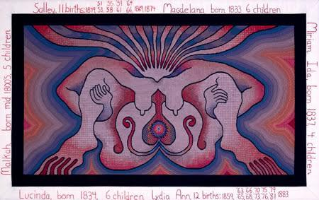 The Crowning, Judy Chicago, Nakış, 1984. Doğum adı verilen projede kadınlar, Ortaçağ'da olduğu gibi birlikte dikiş, nakış yaptılar. Böylece kadınların tarihini devam ettirdiler. www.throughtheflower.org
