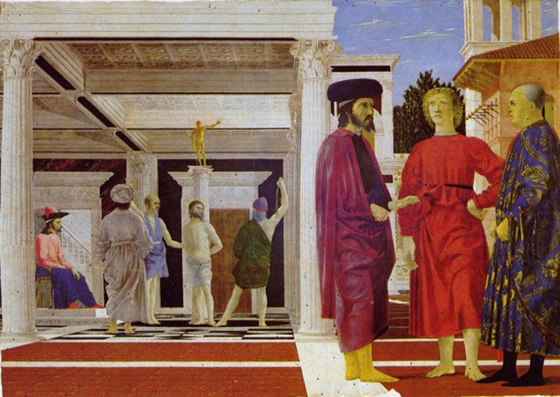 """Tarih yazarı Dukas'ın, varlıklı bir Bizans aristokratı olan Lukas Notaras'a atfettiği, """"Şehrin içinde Latin piskoposluk tacındansa, Türk sarığının egemen olduğunu görmek evladır"""" sözü ünlüdür. Sözün ona ait olup olmadığı tartışmalıdır. Notaras, Konstantinopolis'in korunması için borç bulmaya çalışmış, Osmanlılara karşı son dakikaya kadar çatışmaya katılmıştır. Piero della Francesca'nın (1415-1492) Kırbaçlama adlı eserinde Pontius Pilatus olarak tasvir edilmiş İmparator VIII. İoannis Paleologos. Fotoğraf:tr.vikipedia.org"""
