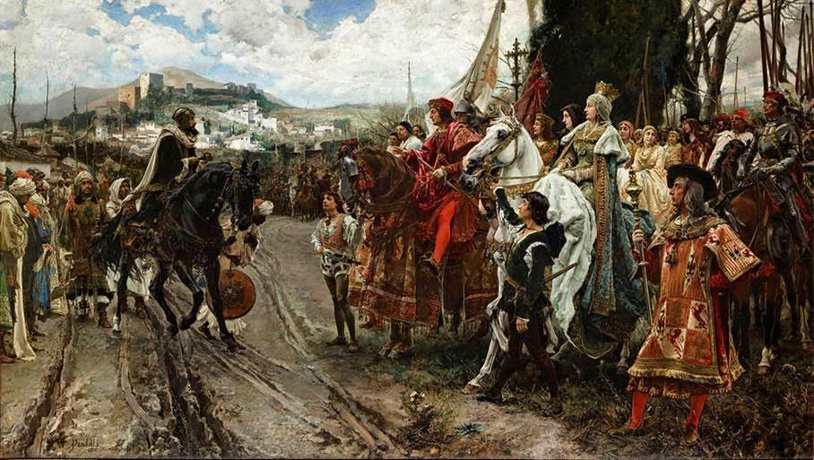 Granada'nın Düşmesi, Francisco Pradilla Ortiz, 1882. Son Nasri Sultanı Ebu Abdullah solda; Papa tarafından verilen adlarıyla Katolik Krallar  Kastilya Kraliçesi I. Isabel ile Aragon Kralı II. Ferdinand tablonun sağında görülüyor. Fotoğraf:tr.wikipedia.org