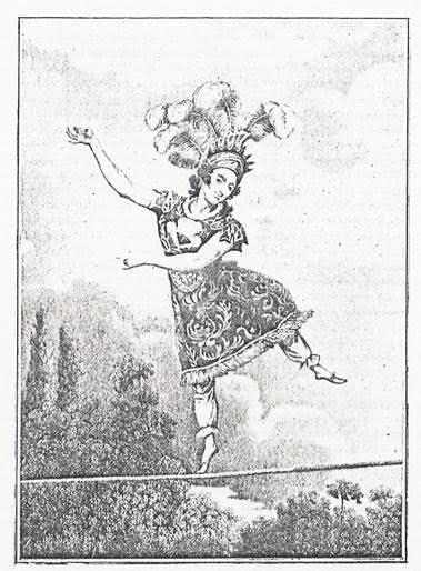Ünlü ip cambazı Madam Saqui (1786-1861). 18. yüzyılın sonunda Paris'te cambazlık ve ip cambazlığının tiyatrolarda bulunması zorunluydu. Fotoğraf:nl.wikipedia.org