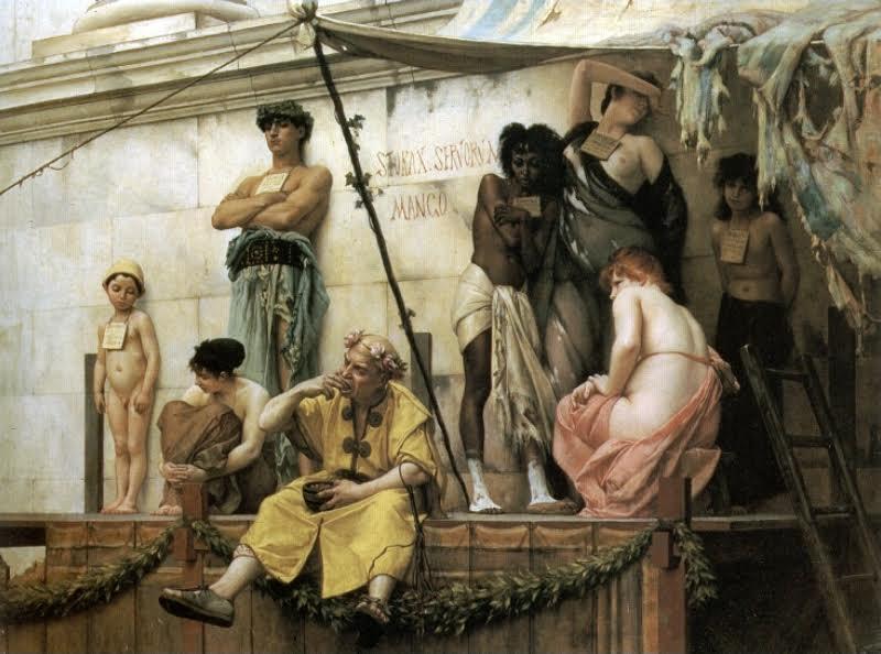 Gustave Boulanger'ın tablosu, The Slave Market (Köle Pazarı), 1882. Sanatçı bu tablosunda Antik Roma'da bir köle pazarını betimlemek istemiştir. Fotoğraf:tr.wikipedia.org