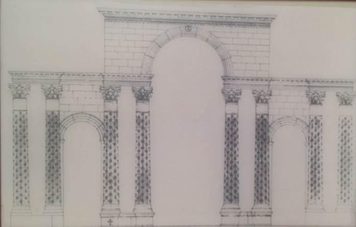 R. Naumann tarafından yapılmış Theodosius Takı'nı yeniden kurma çalışması. Zafer anıtlarında Roma'daki orijinalleri yankılanıyordu. I. Theodosius ve Arcadius'un insan ve hayvan figürleriyle bezenmiş sütunlarının, Traianus sütununun kopyası olduğu düşünülmektedir.