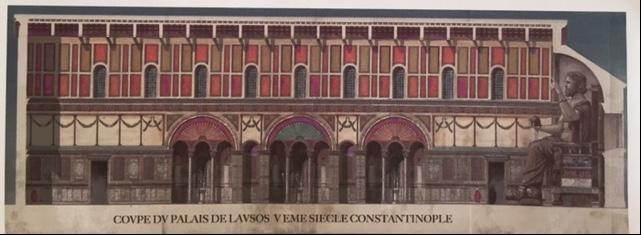 Antoine Helbert tarafından yapılmış Lausos Sarayı canlandırması. Azize Euphemia Kilisesi'nin kuzeyinde bir sarayın kalıntıları bulunmuş, burası yakın zamana kadar Lausos Sarayı olarak teşhis edilmişti, ama artık bu teşhis kesin değil. Lausos, II. Theodosius'un başmabeyincisi imiş. Bahçesinde, Antikçağ'ın önemli heykeltıraşlarının özel parçalarının koleksiyonu olduğu biliniyor. Binbirdirek Sarnıcı'nın Konsül Philoksenos'un Sarayı, Antiokhos Sarayı veya Lausos Sarayı için yapılmış olacağı düşünülüyor. Fotoğraf:www.antoine-helbert.com/.../byzance-scenes.